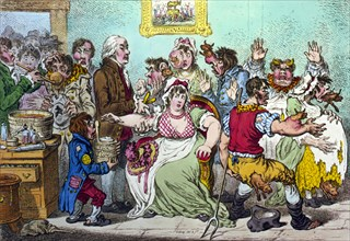 Vaccination scene, Dr. Jenner vaccinating frightened young woman, and cows emerging from different parts of people's bodies