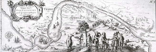 17th century Dutch East India Company map of the  Strait of Magellan; a navigable sea route immediately south of mainland South America and north of Tierra del Fuego. Ferdinand Magellan (Portuguese: F...