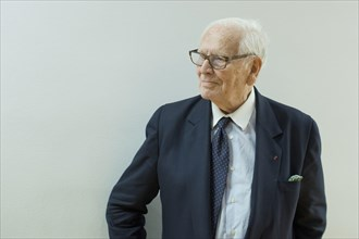 Madrid, Spain. 7th Apr, 2014. The fashion designer Pierre Cardin attends a conference at the French Institute of Madrid under the title 'The stage production of Pierre Cardin'. (Photo by Oscar Gonzale...