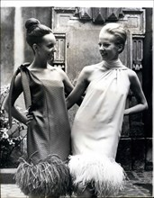 Aug. 08, 1965 - Fashions from the Cardin Collection. Photo shows among the latest fashions from Paris are these two typical dresses from Pierre Cardin's Autumn and Winter Collection. Both are trimmed ...