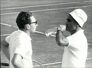 Oct. 10, 1965 - French Parliament Speaker in Tennis Championship, M. Chaban Delmas, president of the French National Assembly, took part in the French Tennis Championship held on the Riviera. Ops: Cha...