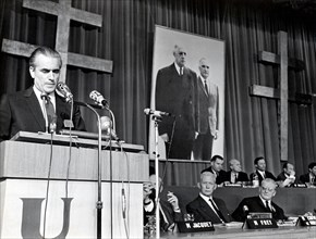 5517434 (900326) Jacques CHABAN-DELMAS , franzˆsischer Premierminister , am Rednerpult auf dem Parteitag der Gaullisten (UDR)