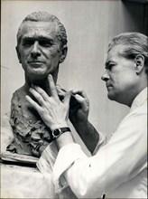 Jun. 29, 1971 - Sculptor Mr Barbieri working on bust of Mr Chaban Delmas