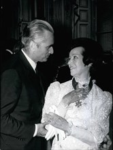 Jul. 20, 1971 - Opera singer Lily Pons received the National Order of Merit Cross yesterday during a reception held at the Matignon Hotel. Jacques Chaban-Delmas presented the award. He is seen here co...