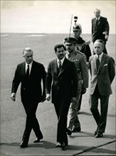 Jun. 14, 1972 - Jacques Chaban-Delmas welcomes Saddam Hussein, Vice-President of the Commanding Council of the Iraqi Revolution, to Paris at the Orly airport.