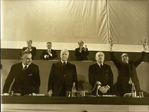Nov. 19, 1973 - Left to right: Jacqes Chaban-Delmas; Pierre Messmer; Alexandre Sanguinetti; Michel Debre.
