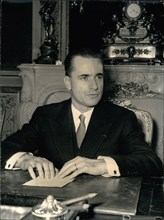 1964 - The new president of French National Assembly.: Newly elected president of the French Parliament, M. Chaban-Delmas, photographed at his desk this morning. © Keystone Pictures USA/ZUMAPRESS.com/...