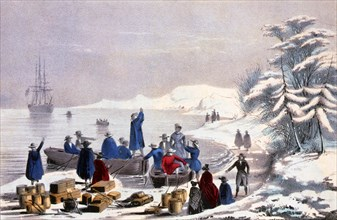 Lithograph entitled: The landing of the Pilgrims on Plymouth Rock, December 11th, 1620. Plymouth Rock is the traditional site of disembarkation of William Bradford and the Mayflower Pilgrims who found...