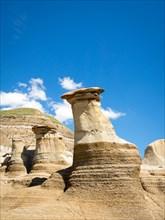Hoodoos, striking geological formations, in the badlands just outside of Drumheller, Alberta, Canada.