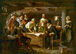 MAYFLOWER COMPACT 1620. Painting by Jean Leon Ferris in 1899