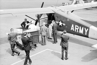 The Alabama National Guard prepares to fly polio vaccine from Birmingham to Haleyvilled during the epidemic of 1963, 1963. In the early 1950's, there were more than 20, 000 cases of polio each year. A...