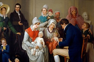 Nineteenth century painting showing doctor vaccinating babies with cowpox to protect them from the more virulent infection smallpox