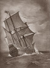 The Mayflower at Sea. Plymouth.  1620
