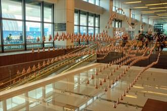 Kinetic Rain Art Sculpture at Singapore Changi Airport.