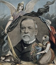 Louis Pasteur, mother and child in the foreground, allegorical figure in the background. Louis Pasteur (December 27, 1822 - September 28, 1895) was a French chemist and bacteriologist who founded the ...