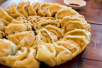 Hand-made Chinese dumplings Jiaozi with black sesame seeds beautifully arranged in a circle for Chinese New Year