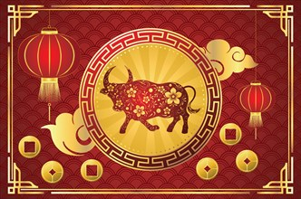 Chinese new year card with bull and flowers illustration.