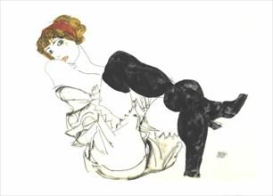 Woman With Black Stockings (Valerie Neuzil) by Egon Schiele