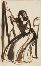 Dante Gabriel Rossetti   Elizabeth Siddal Seated at an Easel