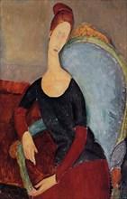 Amedeo Modigliani - Portrait Jeanne Hebuterne Blue Chair 1918