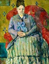 Paul Cézanne, Madame Cézanne in a Red Armchair, portrait painting, circa 1877