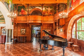 The Grand Hall of Villa Arnaga at Cambo-les-Bains, home to the poet Edmond Rostand, author of Cyrano de Bergerac; Pays Basque, France