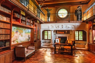 The library of Villa Arnaga at Cambo-les-Bains, home to the poet Edmond Rostand, author of Cyrano de Bergerac; Pays Basque,