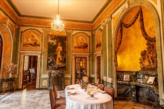 The dining hall of Villa Arnaga at Cambo-les-Bains, home to the poet Edmond Rostand, author of Cyrano de Bergerac; Pays Basque,