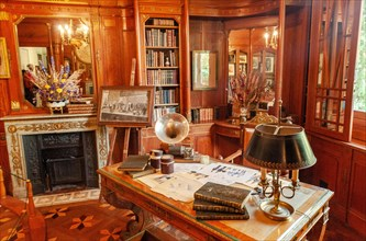 The Empire office desk at Villa Arnaga at Cambo-les-Bains, home to the poet Edmond Rostand, author of Cyrano de Bergerac; Pays Basque,