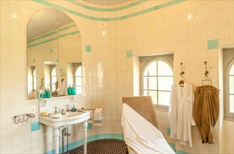The bathroom of Villa Arnaga at Cambo-les-Bains, home to the poet Edmond Rostand, author of Cyrano de Bergerac; Pays Basque, France