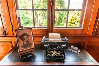 Typewriter in the office of Villa Arnaga at Cambo-les-Bains, home to the poet Edmond Rostand, author of Cyrano de Bergerac; Pays Basque, France