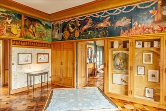 "The ""Boudoir de Rosemonde"" of Villa Arnaga at Cambo-les-Bains, home to the poet Edmond Rostand, author of Cyrano de Bergerac; Pays Basque, France"