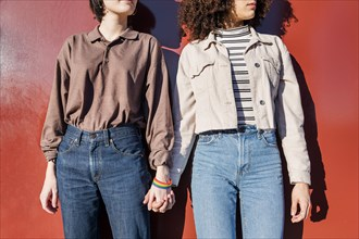 interracial lesbian couple of young women holding hands in front of a red wall, concept of sexual freedom and racial diversity