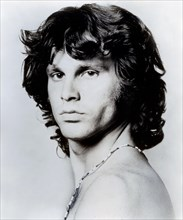 Blackand white publicity photo of Jim Morrison of the classic rock and roll band The Doors circa 1960s.