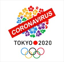 Kiev, Ukraine - March 20, 2020: Tokyo logo as Candidate City for Summer Olympic Games 2020 printed on paper and crossed out by paper sign Coronavirus.