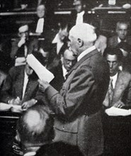 Black and white photograph of French Marshal Philippe Petain (1856-1951) during his trial for treason, pictured on 25 September 1945.