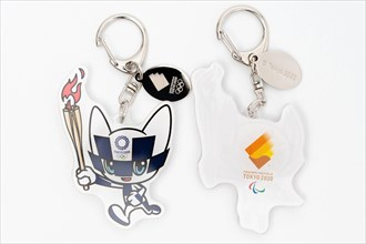 Tokyo, Japan - January 4, 2021: 2020 Tokyo Olympic Mascot Miraitowa (front) and Someity (back) keychain official licensed.
