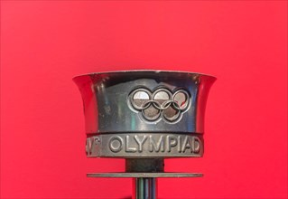 tokyo, japan - march 2 2021: Close up on the official torche used during the torch relay of the first post war Summer Olympic Games of london in 1948