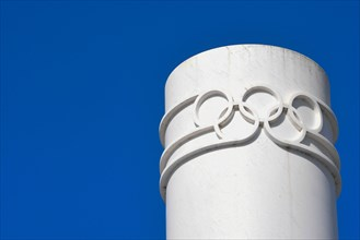 Olympic rings at The Olympic Museum on March 18, 2021 in Lausanne, Switzerland.