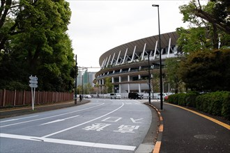Tokyo, Japan. 8th Apr, 2021. A view of the New National Stadium, a venue for the Tokyo 2020 Olympic and Paralympic Games. Next April 14th will mark 100 days ahead of the Tokyo 2020 Summer Olympics and...