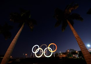Rio de Janeiro-Brazil April 13, 2021, Olympic flag to mark the 100 days remaining for the TOKYO Olympic games