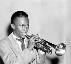 Miles Davis. Portrait of the American Jazz trumpeter, Miles Dewey Davis III (1926-1991) at the Three Deuces, New York, 1947.