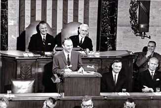 Washington, DC - (FILE) -- Apollo 11 Astronaut Michael L. Collins addresses a Joint Session of Congress on September 16, 1969. Astronauts (L-R) Neil Armstrong, and Edwin E. Aldrin, Jr. Congress honore...