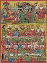 A cropped fourteenth-century miniature Greek manuscript depicting scenes from the life of Alexander the Great, this scene shows Byzantine Greek musicians and various musical instruments. The scene dep...