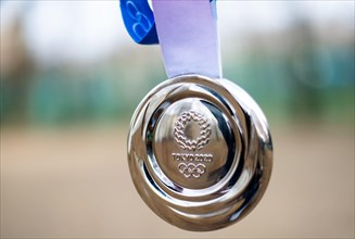 April 16, 2021 Tokyo, Japan. Silver medal at the XXXII Summer Olympic Games to be held in Tokyo.