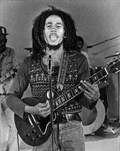 BOB MARLEY (1945-1981) Jamaican reggae musician in  1978