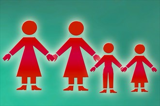 lesbian family graphical illustration of a same sex couple with children