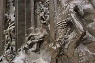 Paris, France. Musee Rodin in Rue de Varenne. Detail of The Gates Of Hell in the museum park