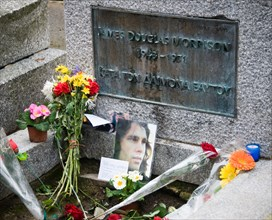 The grave of Jim Morrison in Pere Lachaise cemetery in Paris France