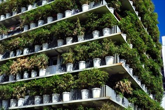 """Paris, France, Green Neighborhood """"Tower Flower"""" Apartment Tower, Architectural Detail, """"Clichy Batignolles"""" Building Day Green walls buildings,"""